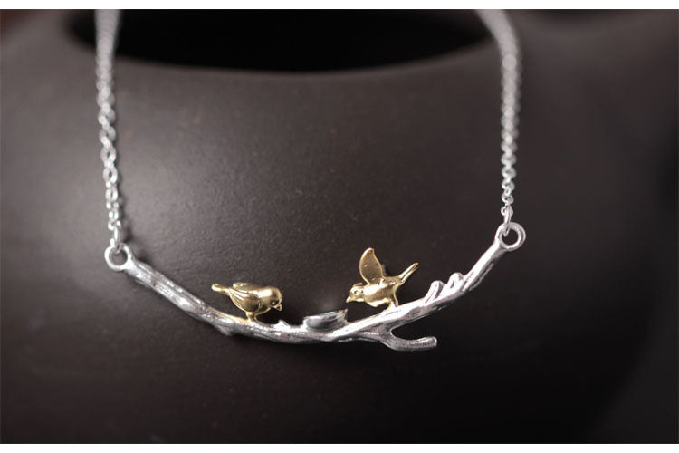 Silver Bonbon  Sterling Silver Golden Tree Branches Bird  Necklace & Pendant