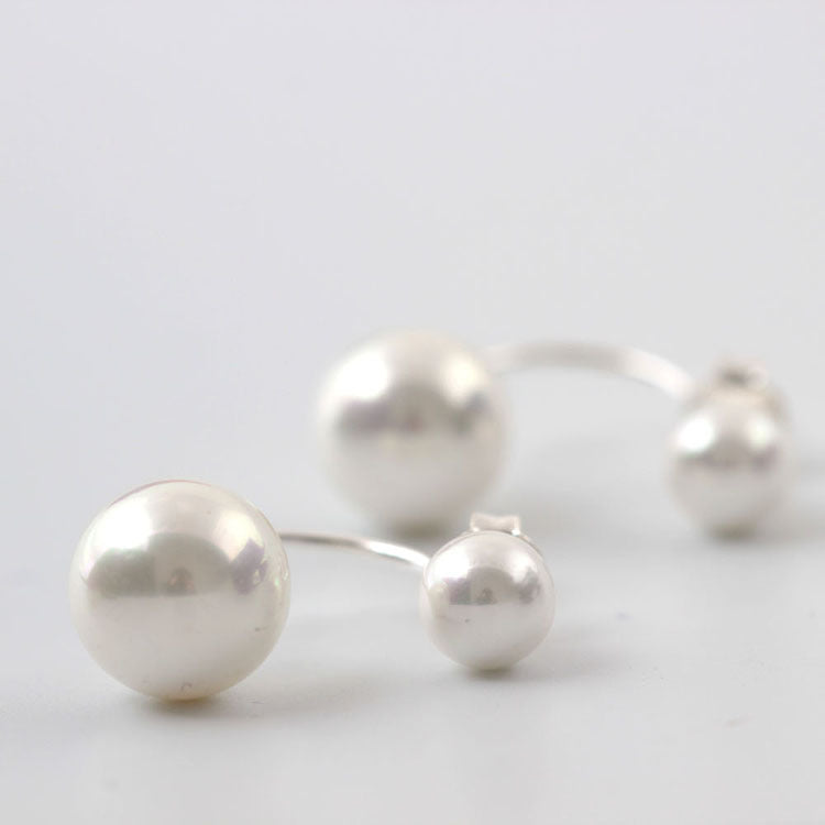 SilverBonbon Sterling Silver Double Pearl Stud Earrings