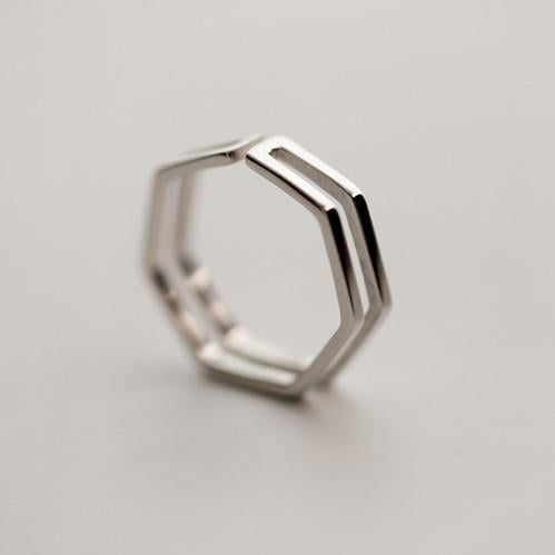 Silver Bonbon Geometric Double Layer  Ring