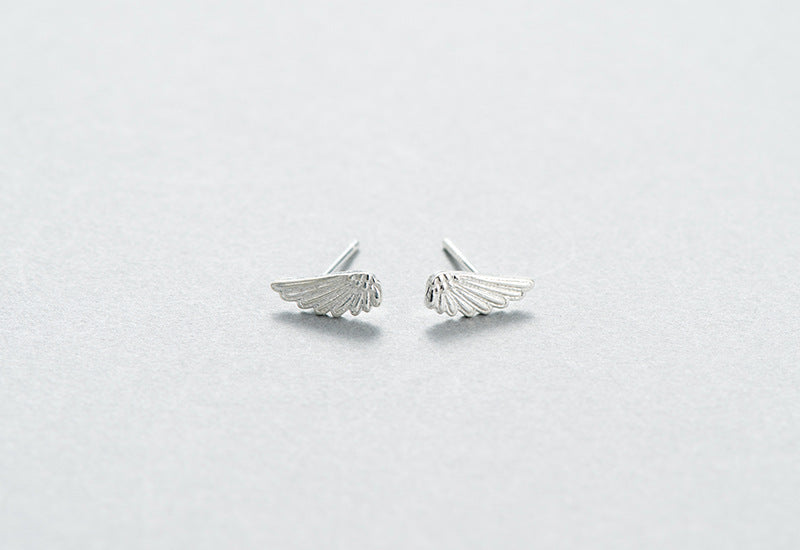 NEW Silver Bonbon Sterling Silver Guardian Angel Wings Feather Stud Earring