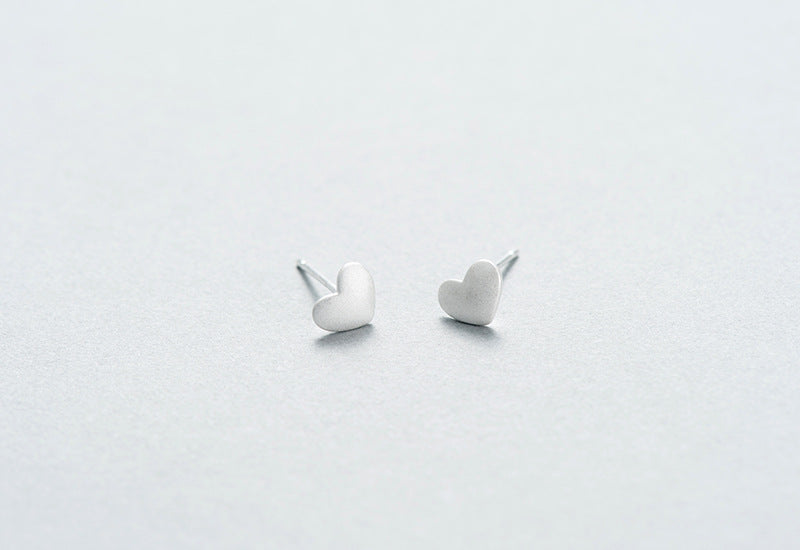 Silver Bonbon Cute Sterling Silver Matte Heart Stud Earrings
