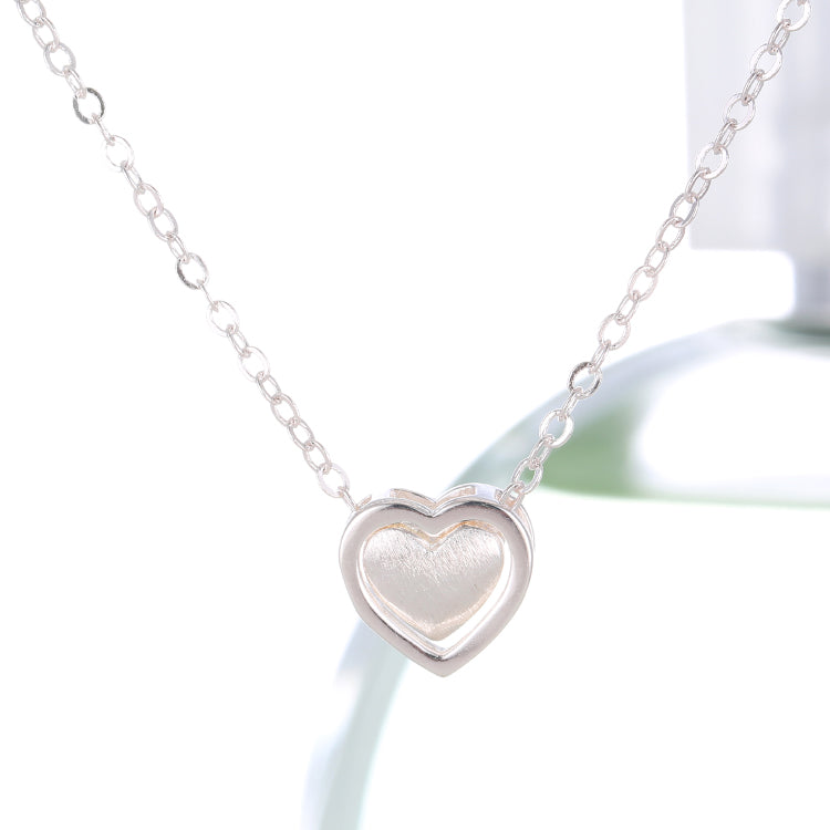 Silver Bonbon Sterling Silver Double Heart Short Necklace & Pendant