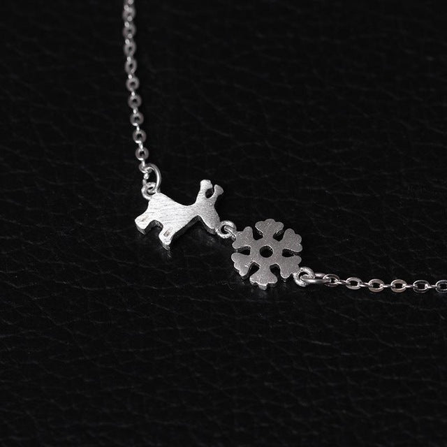Silver Bonbon Super Cute Sterling Silver Christmas Snowflakes Deer Necklace & Pendant