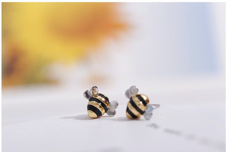 Silver Bonbon Sterling Silver Gold Plated Bees Stud Earrings
