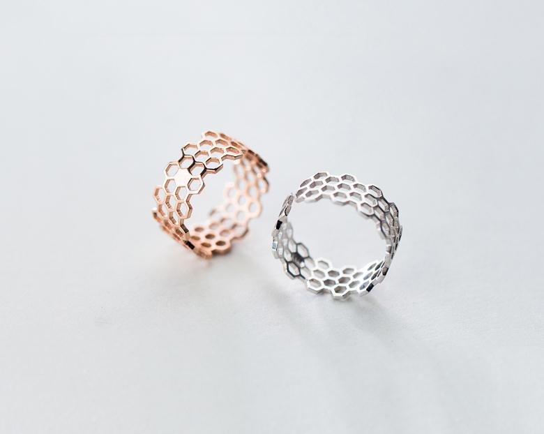 Silver Jewelry Honeycomb Ring Women