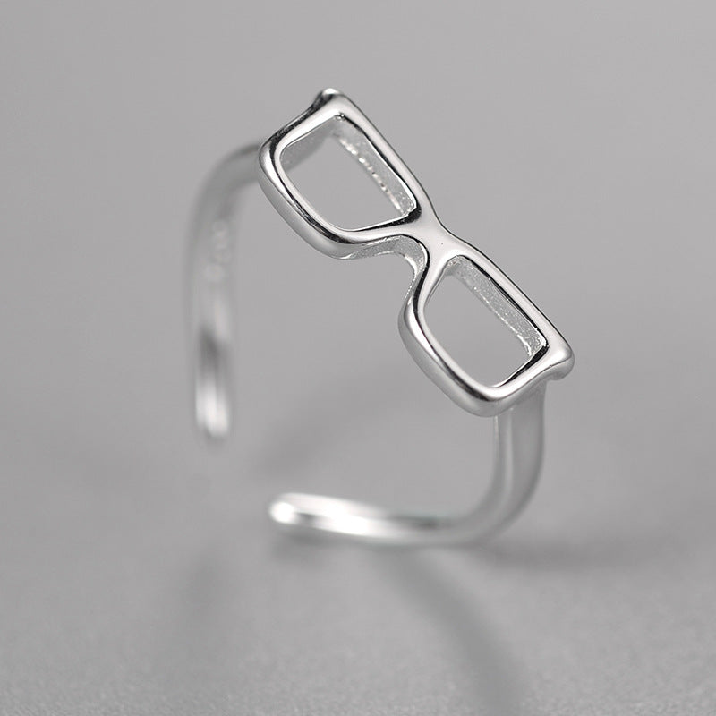 Silver Bonbon Sterling Silver Glasses Shape Rings