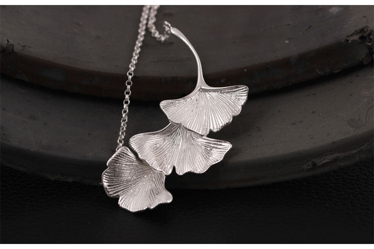 Silver Bonbon Designer Sterling Silver Three Ginkgo Leaves Necklace & Pendant