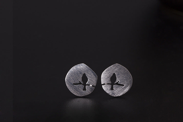 Silver Bonbon Sterling Silver Matte Tree Branch Bird Stud Earrings