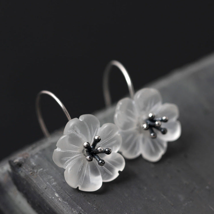 Silver Bonbon Designer Sterling Silver  Crystal Flowers Drop Earrings