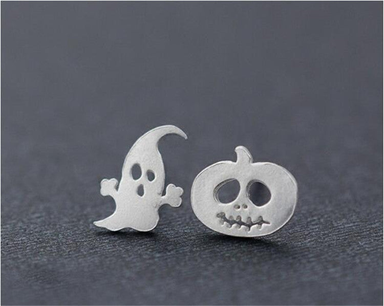 Silver Bonbon  Cute Halloween Pumpkin Ghost Earrings