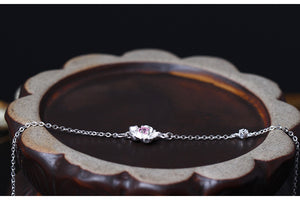 Silver Bonbon Sterling Silver Cubic Zirconia Cherry Blossom Bracelet