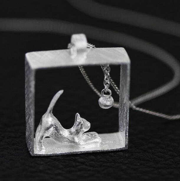 Silver Bonbon Sterling Silver Cat Necklace