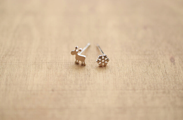 Silver Bonbon Super Cute Deer Snowflake Christmas Sterling Silver Earrings