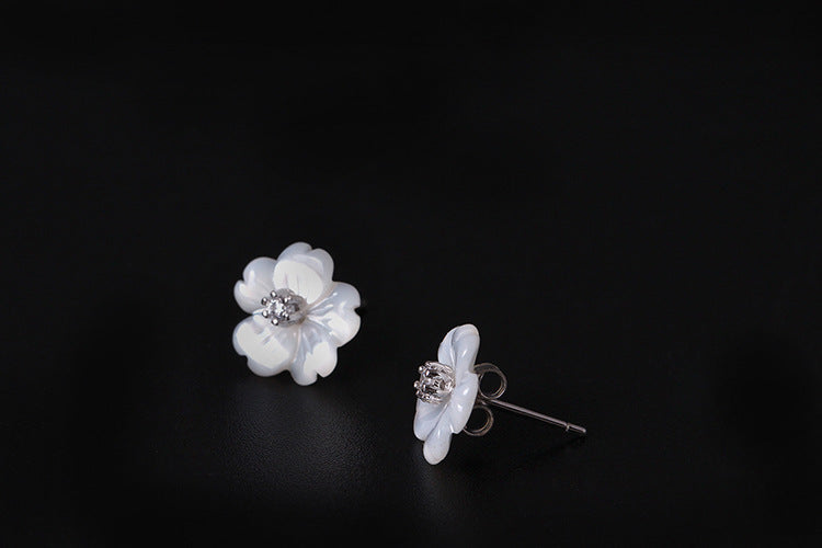Silver Bonbon Designer Sterling Silver Carved Shell Flowers Changeable Stud Earrings