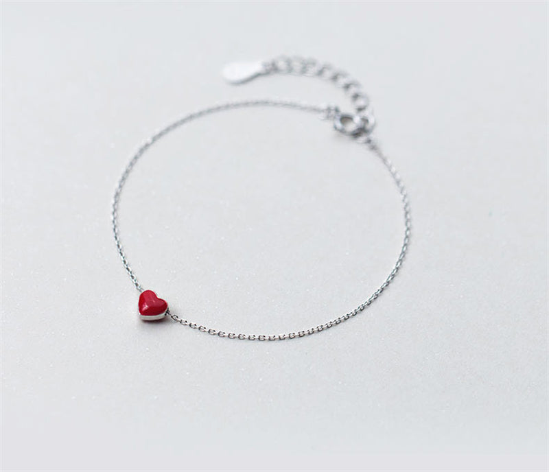 Sterling Silver Red Heart Pendant Bracelet
