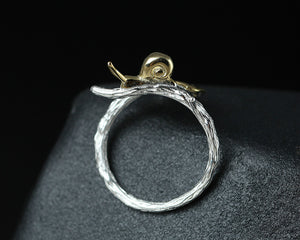 Silver Bonbon Designer Sterling Silver Snail Ginkgo Leaves Open Ring