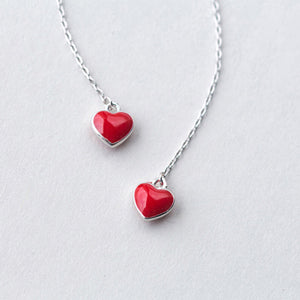 Sterling Silver Dangle Red Heart Earrings
