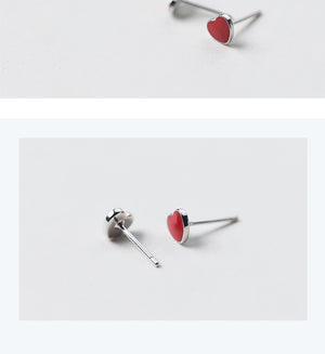 Sterling Silver Small Heart Stud Earrings