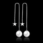 Silver Bonbon Sterling Silver Star Long Imitation Pearl Earrings