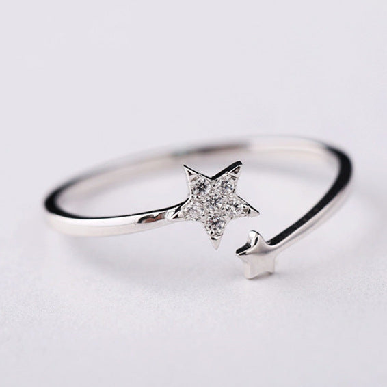 Silver Bonbon Sterling Silver Zircon Double Star Open Ring