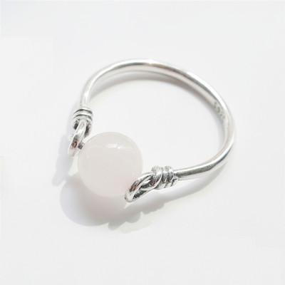 Silver Bonbon Sterling Silver Natural Stone Beads  Rings