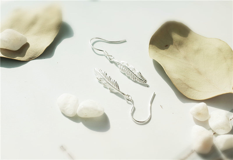 NEW Silver Bonbon Sterling Silver Long Feathers Drop Earrings