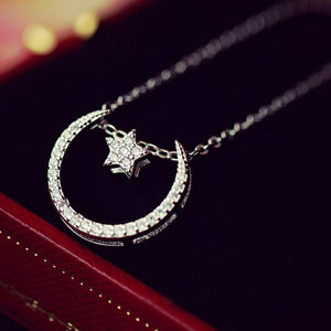 Silver Bonbon Sterling Silver Crystal Moon Stars Necklace