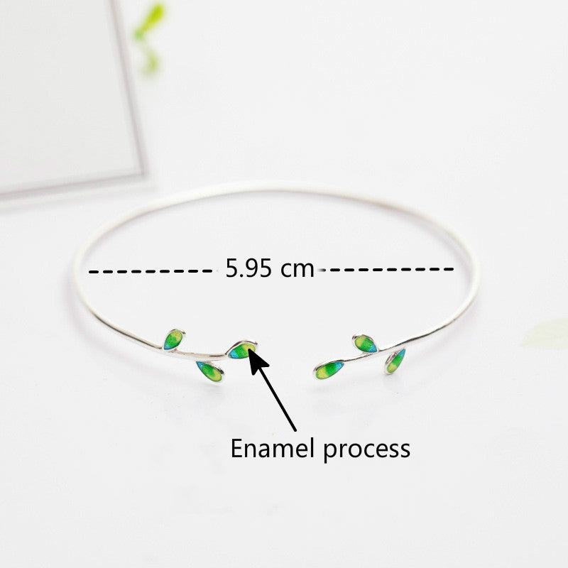 NEW Silver Bonbon Sterling Silver Enamel Green Olive branch Leaves Open Cuff  Bangle
