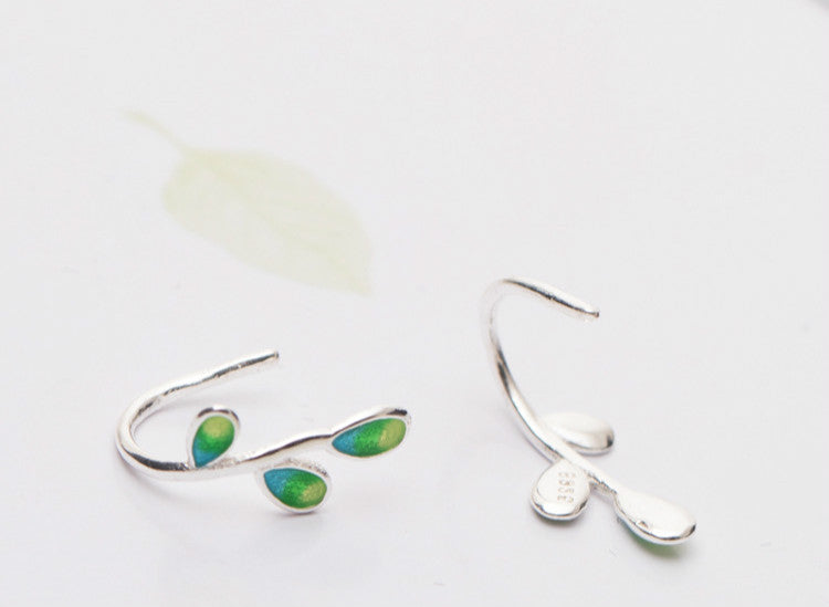 NEW Silver Bonbon Sterling Silver Enamel Green Olive branch Leaves  Earrings