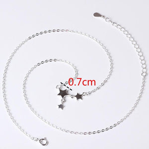 SilverBonbon Sterling Silver Three Stars Choker Necklace