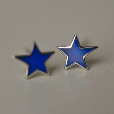 SilverBonbon Blue Enamel Star Sterling Silver Stud Earrings