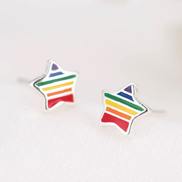 Sterling Silver Rainbow Enamel Star Stud Earrings
