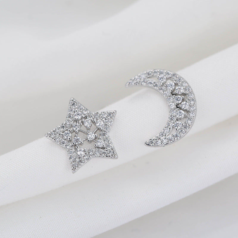 Sterling Silver Star & Moon Cubic Zirconia Earrings