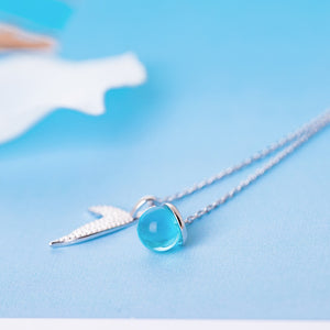 SilverBonbon Sterling Silver Blue Crystal Mermaid Tail & Waterdrop Necklace