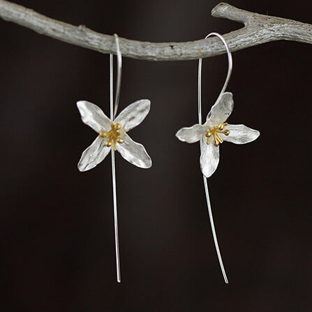 Silver Bonbon Designer Sterling Silver Flowers Long Drop Earrings