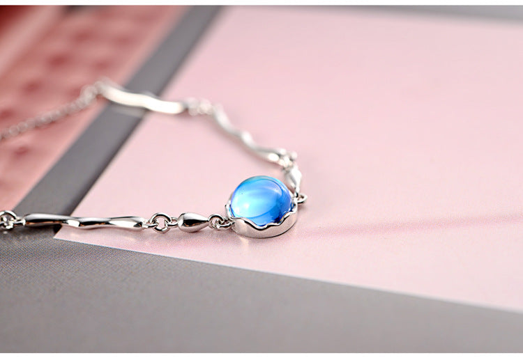 SilverBonbon Sterling Silver Blue Glass Mermaid Waterdrop Charm Bracelet
