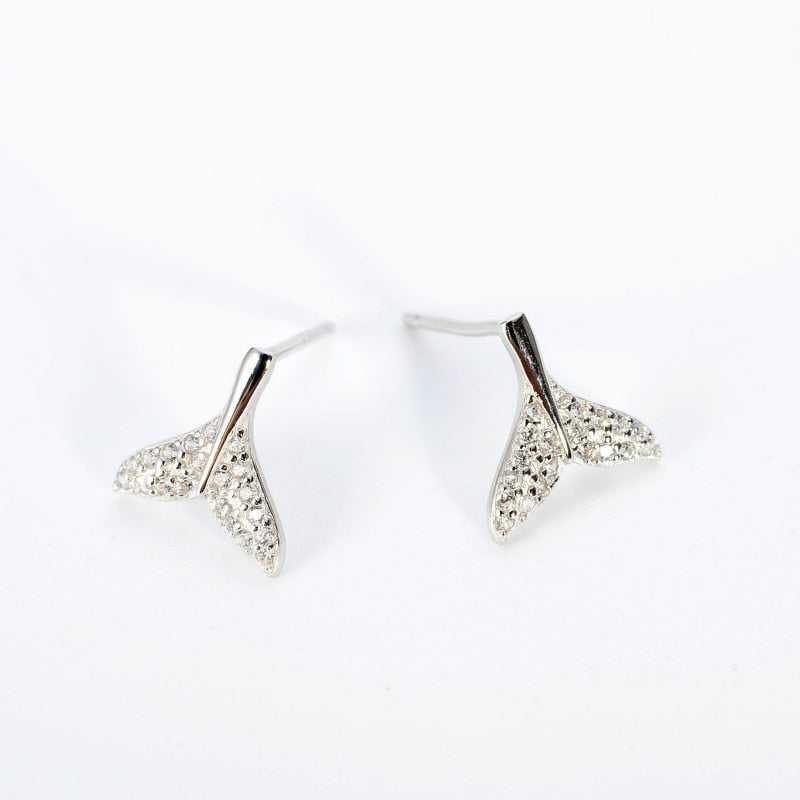 SilverBonbon Sterling Silver Cubic Zirconia Mermaid Tail Stud Earrings
