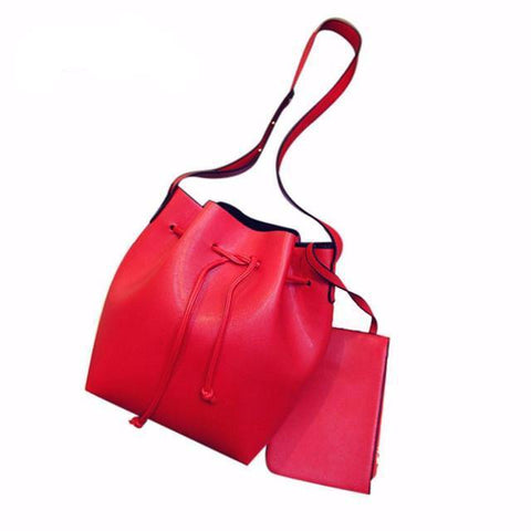 Beautiful Bucket Bag - Drawstring Royal Lady Shoulder Bag with in/out Purse attached