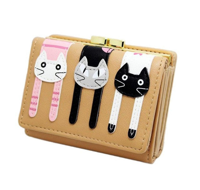Small Wallet Button Clutch 'Three Cats' Ladies Wallet / Purse