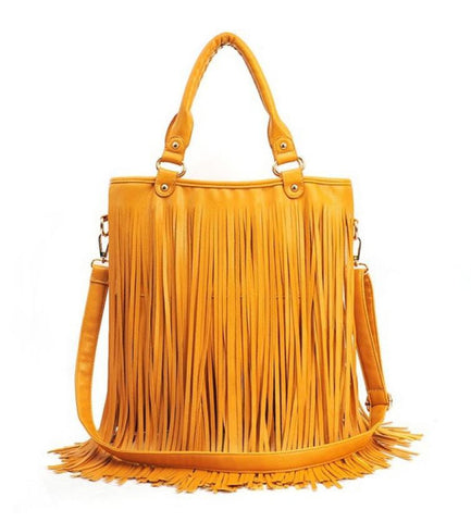 Solid Street Western Punk Tassel Fringe Casual Handbag - Women Shoulder Bag