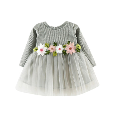 Girls clothes Dress Floral Cute Toddler Baby Girl Floral Tutu Long Sleeve Princess Dress