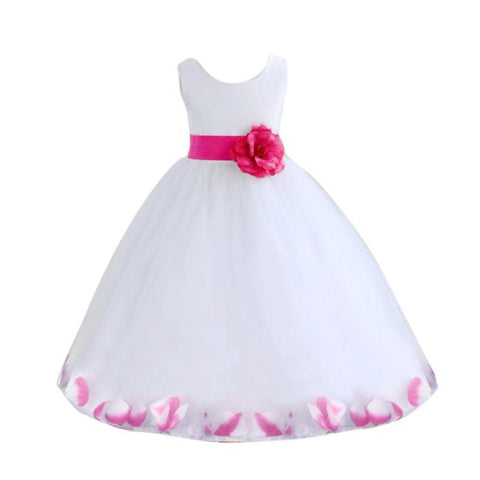 Girl Princess Dress with Sashes Bow Kids Costumes Summer Baby Party Wedding Dress