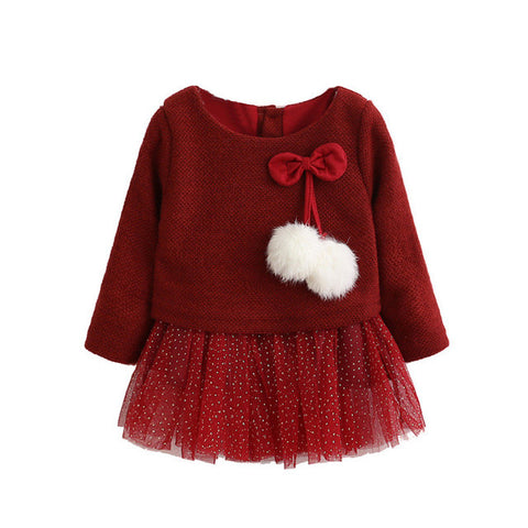 Spring Summer Long Sleeve Cotton Wool Pompoms Bowknot Lace Dress for Girls New Baby Newborn Tutu Princess Dresses 0-24M