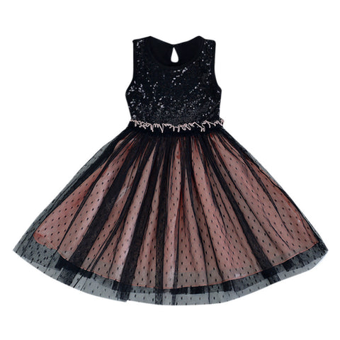 New Princess Toddler Baby Girls Bling Sequins Dress Sleeveless Tutu Princess Dress Children's Clothing Dot Outfits Clothes
