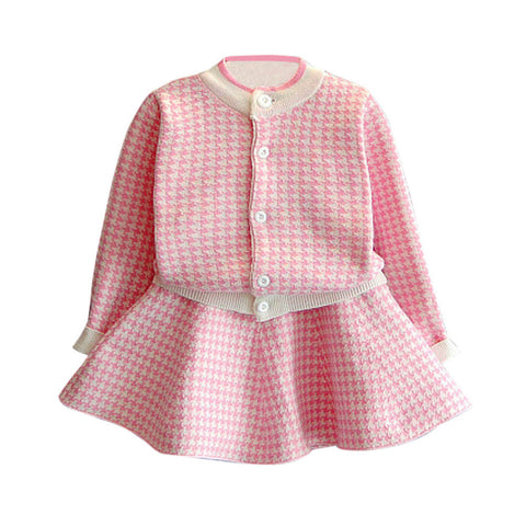Classy Girls Houndstooth Knitted Suit Autumn Long Sleeve Plaid Jackets+Skirts 2Pcs for Kids