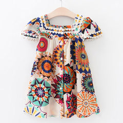 Girls Summer Dress Robe Princess Dress Girl Sunflower Floral Dress