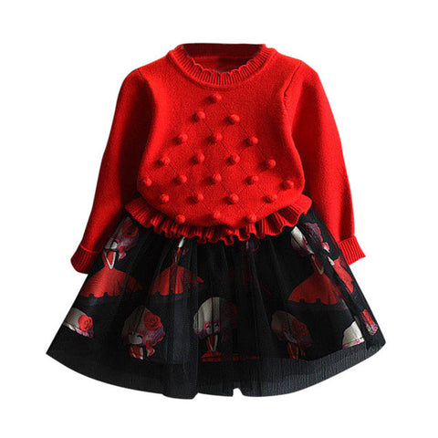 Autumn Girl Long Sleeves Dress Ruffle Raglan Knitted Patchwork Sweater Lace Dresses One Piece for Girls Winter Clothes