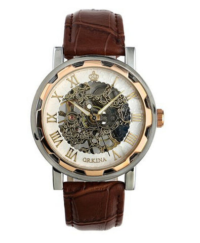 Luxury Men's Leather Band Stainless Skeleton Mechanical Wrist Watch