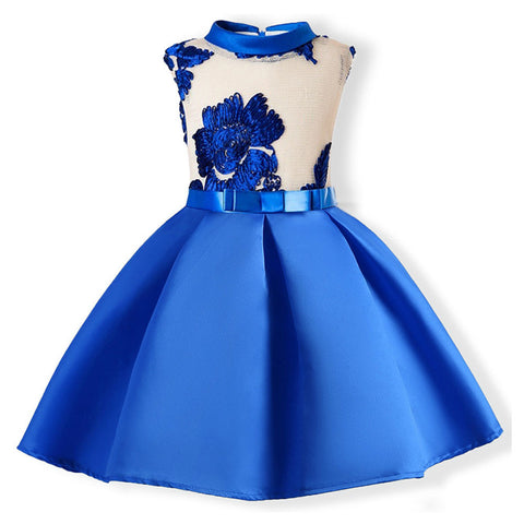 Child Girls Princess Dress Kids Party Flowers Embroidery Wedding Formal Dresses