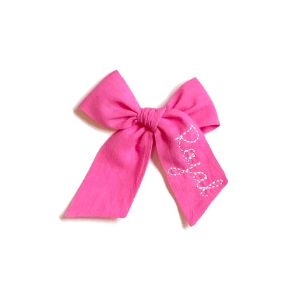 Neon Pink Name Bow